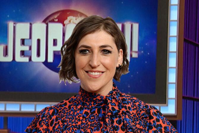 """Mayim Bialik on a """"Jeopardy!"""" background"""