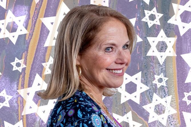Katie Couric on background of Jewish stars