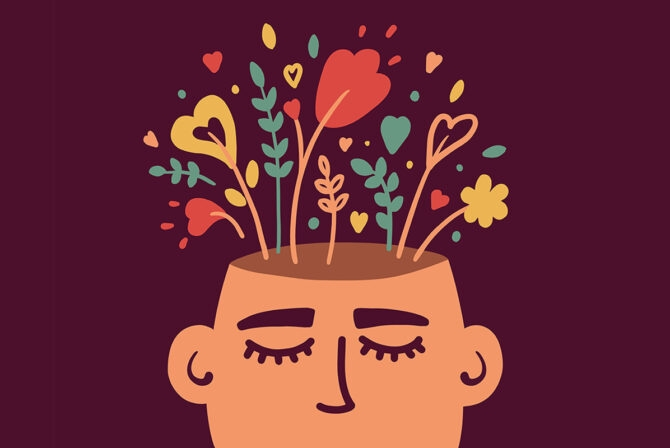 illustration of flowers growing out of a person's head