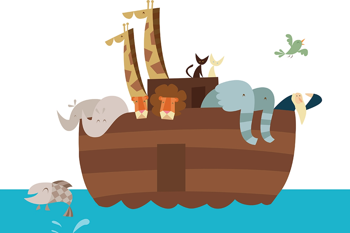 Animals floating in boat in search of dry land.