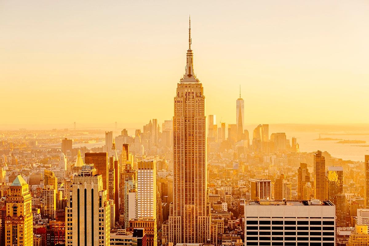 Golden sunset in Manhattan, New York City
